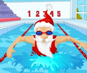 Christmas old man swimming race vector