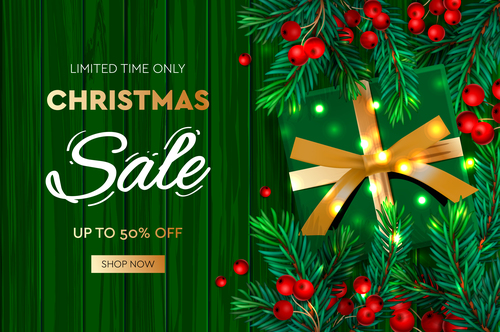Christmas promotion flyer vector on green background