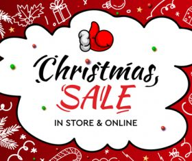 Christmas sale in store online flyer vector