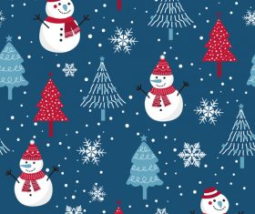 Christmas snowman fir blue seamless pattern vector