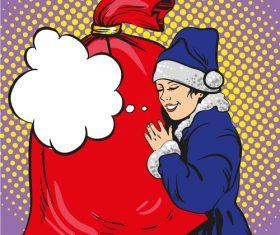 Christmas woman and big gift bag comic vector