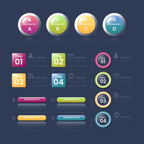 Circle and square business chart options options vector