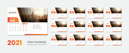 City background 2021 desk calendar vector