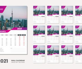 City landmark background 2021 desk calendar vector
