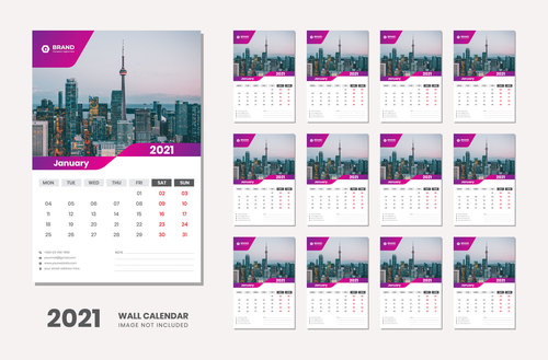 City landmark background 2021 desk calendar vector