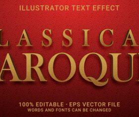 Classical baroque editable font effect text vector
