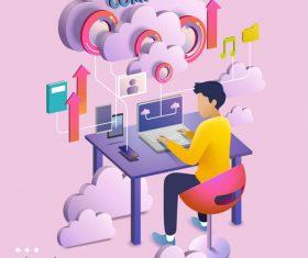 Cloud computing cartoon illustration vector