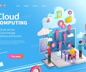 Cloud service cartoon illustration vector