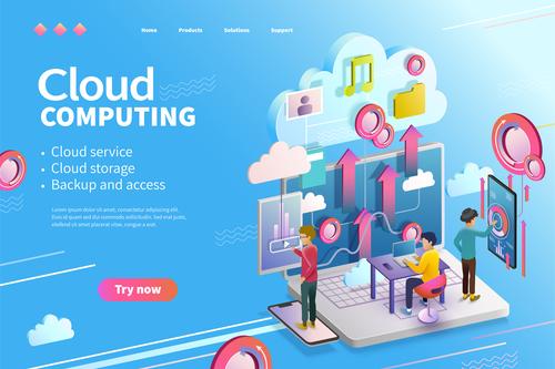 Cloud service cartoon illustration vector