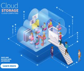 Cloud storage isometric data cartoon illustration vector