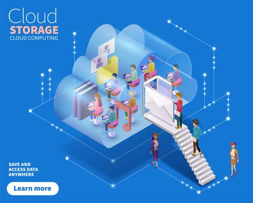 Cloud storage isometric data cartoon illustration vector