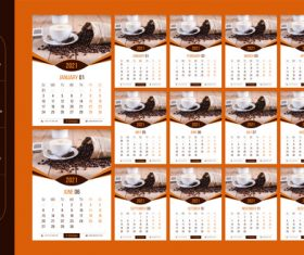 Coffee background 2021 wall calendar vector