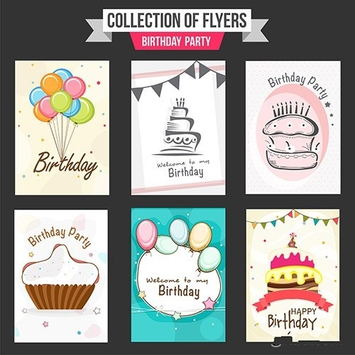 Collection of Birthday party flyers vector