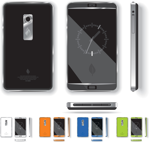 Color mobile phone front and back vector