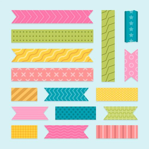 Color washi tape vector