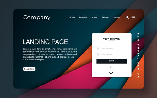 Colorful background website landing page template vector