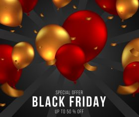 Colorful balloon background black friday flyer vector