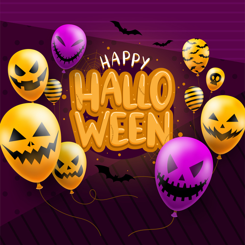 Colorful balloon halloween vector