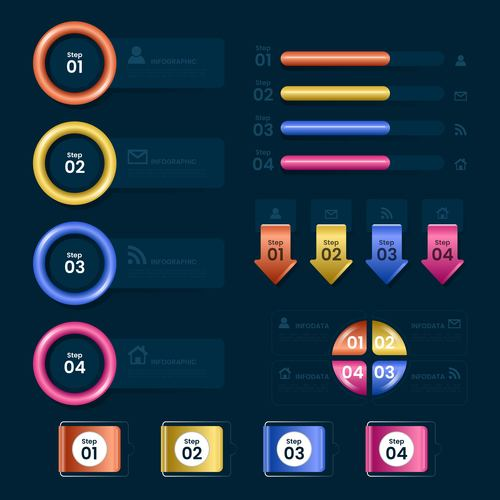 Colorful business chart options on black background options vector