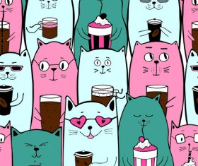 Colorful cats with coffee drinks seamless pattern vector