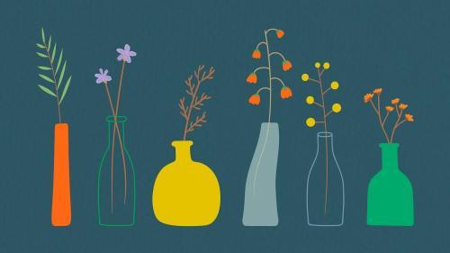 Colorful doodle flowers in vases pattern vector