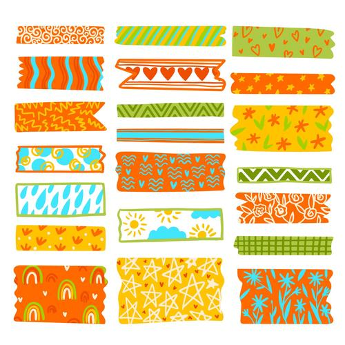 Colorful washi tape vector