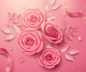 Colors rose flower 3d illustrations vector