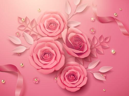 Colors rose flower 3d illustrations vector