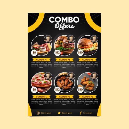 Combo meals discount poster vector
