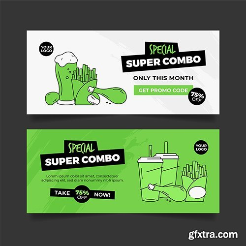 Combo offers banners pack vector
