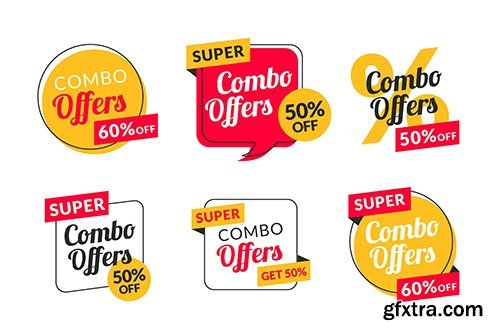 Combo offers labels collection vector