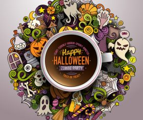 Comic halloween element pattern vector