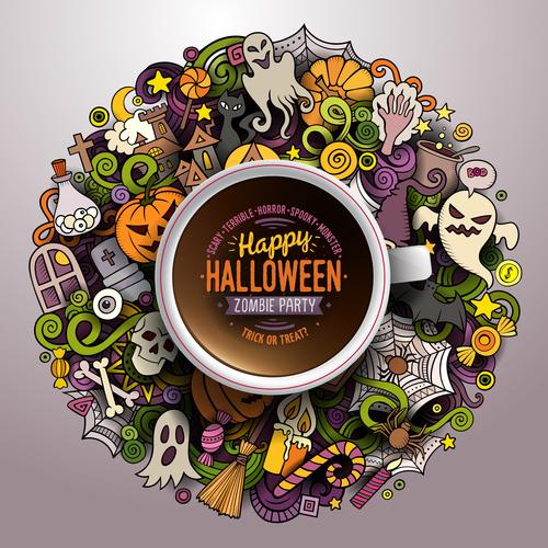 Comic halloween element pattern vector