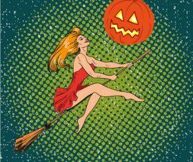 Comic halloween woman vector