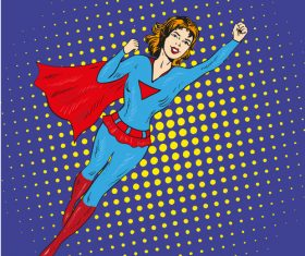 Comic happy superwoman vector