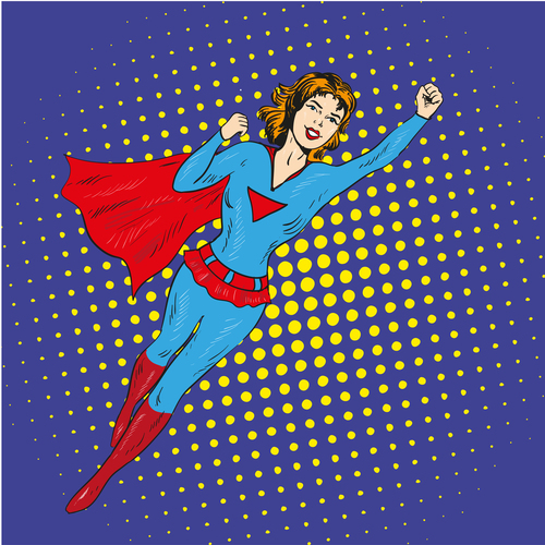 Comic happy superwoman vector