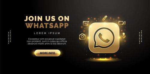 Communication app social network in gold design on black background vector
