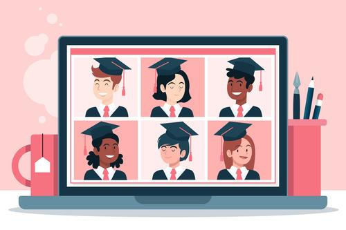 Concept illustration virtual graduation vector