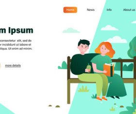 Couple illustration design landing page vector