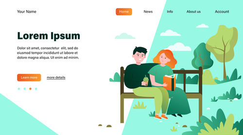 Couple illustration design landing page vector