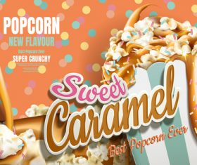 Crispy and delicious popcorn advertising vector