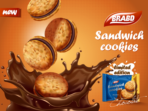 Crispy and delicious sandwich biscuits advertising vector