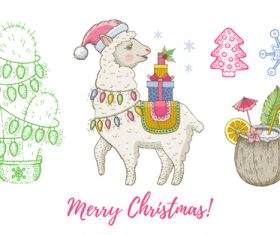 Cute animal theme Christmas illustration vector