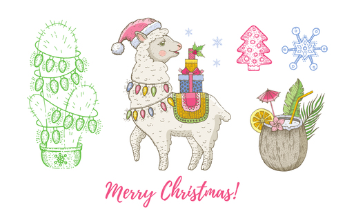 Cute animal theme Christmas illustration vector