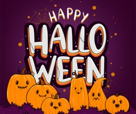 Cute cartoon pumpkin halloween illustration vector