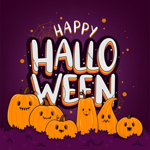 Cute cartoon pumpkin halloween illustration vector