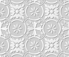 Damascus seamless 3d paper floral pattern vector