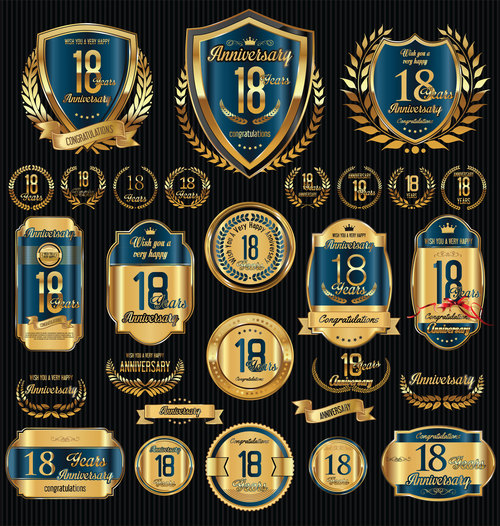 Dark blue anniversary badges vector