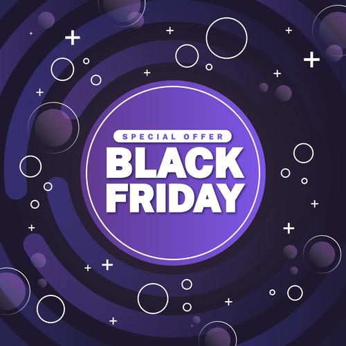Dark purple background black friday flyer vector