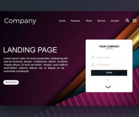 Dark red website landing page vector